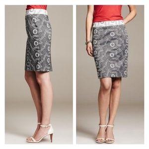 Banana Republic Paisley Jaquard Gray Floral Skirt